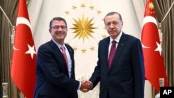 21일 터키 수도 앙카라를 방문한 애슈턴 카터 미국 국방장관(왼쪽)이 레제프 타이이프 에르도안 터키 대통령과 만나 악수하고 있다.