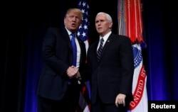El presidente Donald Trump participió junto al vicepresidente Mike Pence el jueves 17 de enero de 2018 en el evento de Revisión de Defensa de Misiles en el Pentágono.