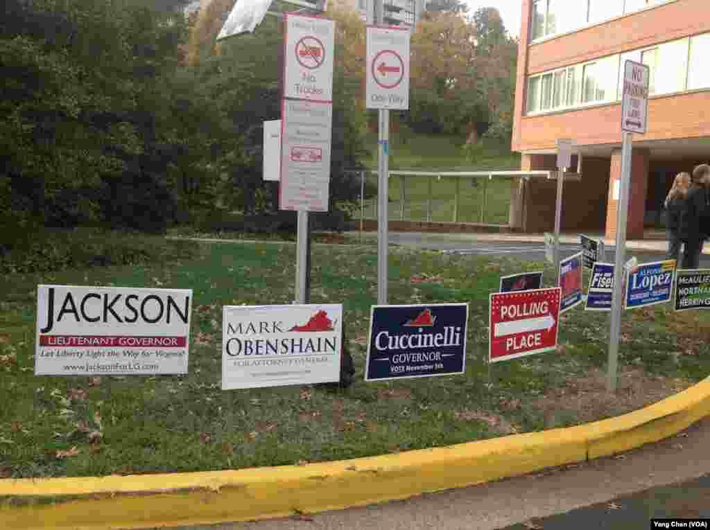 维吉尼亚州一投票站(美国之音杨晨拍摄)
