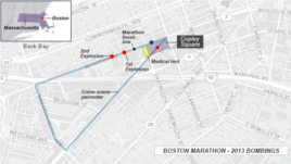 Boston Marathon - sites of bombings, 2013.