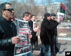 Anti-Gadhafi demonstrators in front of the White House, Feb. 22, 2011
