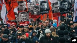 Marcha por el líder opositor Boris Nemtsov el domingo en Moscú.