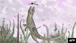 Рисунок изображает предка крокодилов, охотящегося на стрекоз в южной Танзании.