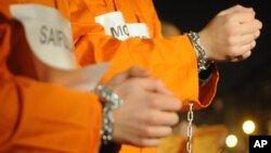 File -Prisoners at the US Guantanamo base.