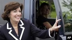 Democratic candidate for the 26th District Congressional seat, Kathy Hochul arrives at a campaign stop at a restaurant in Amherst, N.Y., Tuesday, May 24, 2011