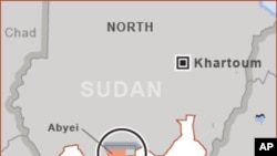 The disputed Abyei region, highlighted above in red, is among the sticking points between north and south Sudan