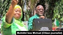 Mgombea wa Urais wa CCM, John Magufuli na Mgombea Mwenza Samia Suluhu.