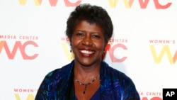 "FILE - ""NewsHour"" co-anchor Gwen Ifill attends The Women's Media Center 2015 Women's Media Awards in New York, Nov. 5, 2015. Ifill died on Monday of cancer, PBS said. She was 61."