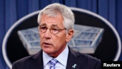 U.S. Secretary of Defense Chuck Hagel makes remarks at the Pentagon in Washington, May 1, 2014.