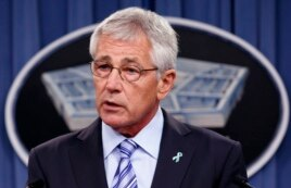 FILE - U.S. Secretary of Defense Chuck Hagel makes remarks at the Pentagon in Washington, May 1, 2014.