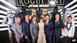 "The cast of ""Rogue One: A Star Wars Story"" at the World Premiere at The Pantages Theatre, Dec. 10, 2016, in Hollywood, California."