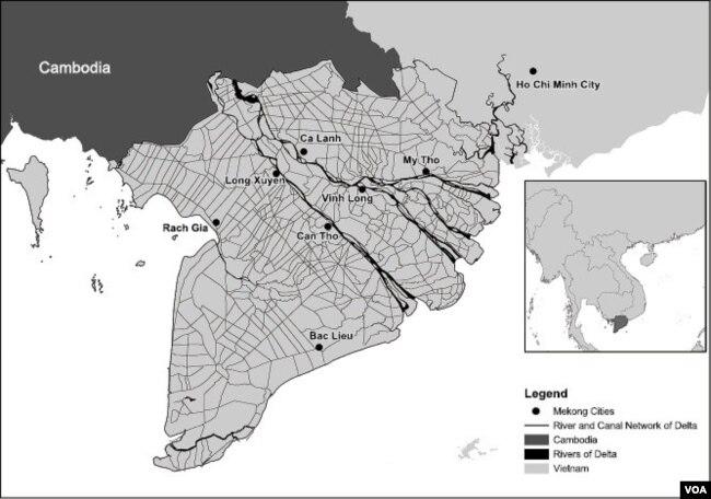 Bản đồ hệ thống sông và kênh rạch chằng chịt nơi vùng châu thổ Đồng Bằng Sông Cửu Long [Nguồn: Amir Hosseinpour (ZEF), trích dẫn bởi Simon,2014] (6)