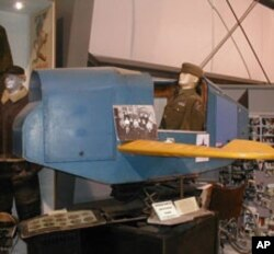 The U.S. Army Air Force used a crude simulator, bolted to a platform that bounced and shook, to train pilots during World War II. This one is preserved in a museum.