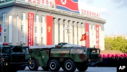 Missiles are on display during a military parade Oct. 10, 2015, during celebrations to mark the 70th anniversary of North Korea's Workers' Party.