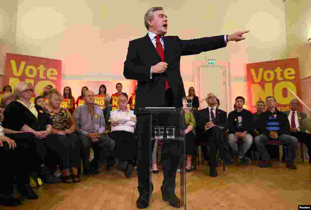 Britain's former Prime Minister Gordon Brown speaks at a campaign event in favour of the union in Clydebank, Scotland, Sept. 16, 2014.