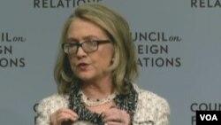 克林頓在外交關係協會演說(VOA視頻截圖)