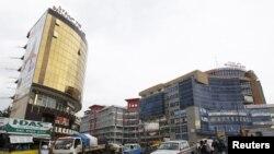 نمایی از یک منطقه تجارتی در آديس آبابا، اتيوپی