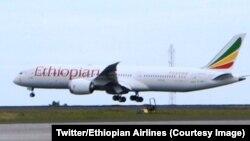 """L'avion d'Ethiopian Airlines baptisé """"l'oiseau de la paix"""" effectue le premier vol entre l'Ethiopie et l'Erythrée après plusieurs années de conflit entre les deux pays voisins, 18 juillet 2018. (Twitter/Ethiopian Airlines)"""
