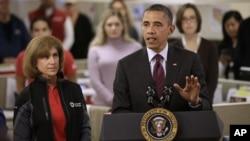 صدراوباما، طوفان سے متاثرہ ریاست نیوجرسی کے دورے میں پریس کانفرنس کرتے ہوئے