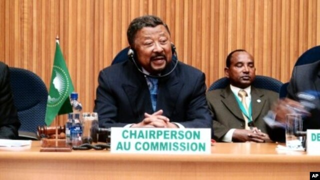 Chairperson of the African Union Commission, Jean Ping, speaks during a meeting of African economic blocs at the African Union summit in Addis Ababa, January 25, 2012.