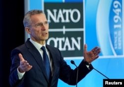 FILE - NATO Secretary-General Jens Stoltenberg speaks to the media during the NATO Foreign Minister's Meeting at the State Department in Washington, April 4, 2019.