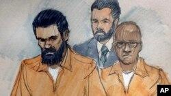 Jonas M. Edmonds, izquierda y Hasan R. Edmonds, derecha, aparecen ante la corte federal en Chicago para responder a cargos por conspiración. Podrían enfrentar 15 años de prisión.
