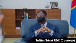 Alexis Thambwe Mwamba mokambi ya Sénat na bureau na ye, Palais du peuple, Kinshasa, 12 janvier 2021. (Twitter/Sénat RDC_