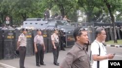 Pengamanan parat kepolisian di Jakarta dalam mengantisipasi sebuah unjuk rasa. (Foto: dok)