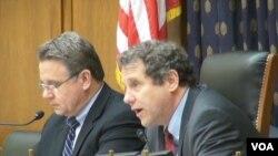 美國國會聽證會上委員會共同主席﹐ 共和黨眾議員史密斯(左)和民主黨參議員布朗(右)。(視頻截圖)