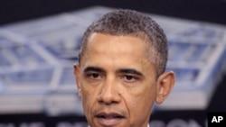 သမၼတ Barack Obama ကာကြယ္ေရးမဟာဗ်ဴဟာဆိုင္ရာလမ္းစဥ္ ေဆြးေႏြးေနစဥ္ (ဇန္နဝါရီလ၊ ၅ ရက္၊ ၂၀၁၂။)