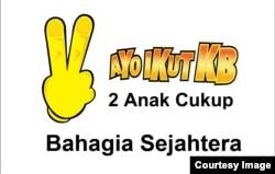 Slogan Dua Anak Cukup yang dicanangkan Orde Baru masih populer sampai sekarang. (Foto: Humas BKKBN).
