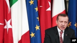 Turkish Prime Minister Recep Tayyip Erdogan during a news conference in Rome, May 8, 2012.