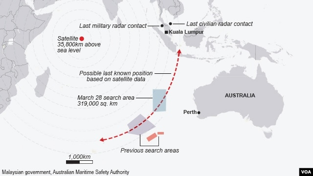 Malaysia Airlines flight MH 370 search area as of March 28, 2014