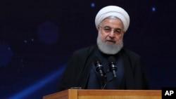Dalam foto yang dirilis oleh situs web kantor Kepresidenan Iran, Presiden Hassan Rouhani sedang berbicara dalam sebuah acara di Teheran, Iran, 9 April 2019.