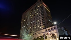 FILE - A general view of Traders Hotel in central Rangoon.