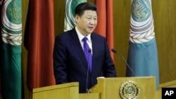 시진핑 중국 국가주석이 21일 이집트 카이로의 아랍연맹 본부에서 연설하고 있다.
