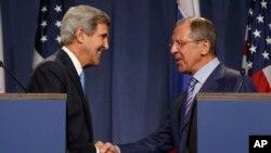 Джон Керри и Сергей Лавров в Женеве