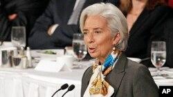 Bà Christine Lagarde, Tổng giám đốc IMF, nói chuyện tại Câu lạc bộ Kinh tế ở New York, 10/4/2013.