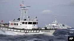 台灣巡邏艇與日本海岸警衛隊9月25日近距離對峙。