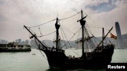 La replica del galeón español del siglo XVI estára en Miami hasta el 28 de abril.