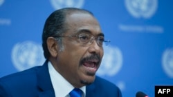 Michel Sidibe, Executive Director of Joint UN Program on HIV/AIDS, speaks during a news conference, Sept. 25, 2014.