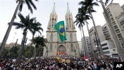 Protestors gather in front of the Metropolitan Cathedral in Sao Paulo, Brazil, June 18, 2013