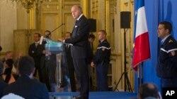 El ministro de Exteriores, Laurent Fabius, habla durante una conferencia en el Quai d' Orsay en París.