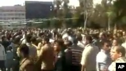 Aspecto das manifestações na Síria