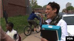 Henriette Taylor, the community school coordinator at Historic Samuel Coleridge-Taylor Elementary, connects students and families with needed services in Baltimore, Maryland. (Jeff Swicord/VOA)
