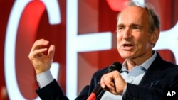 British computer scientist Tim Berners-Lee, best known as the inventor of the World Wide Web, delivers a speech during an event at the CERN in Meyrin near Geneva, Switzerland, Tuesday March 12, 2019 marking 30 years of World Wide Web. (Fabrice Coffrini/Po