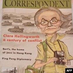 Bức họa ký giả Clare Hollingworht trên trang bìa tạp chí về truyền thông FCC vinh danh bà nhân sinh nhật 100 tuổi của bà