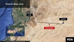 Peta pangkalan udara Tiyas di Suriah