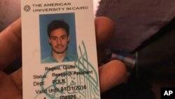 Kartu mahasiswa mendiang Giulio Regeni, mahasiswa Italia yang tewas dibunuh di Kairo (foto: ilustrasi).