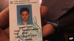 Le ministère egyptien de l'intérieur a publiblié la carte d'étudiant de Giulio Regeni retrouvé dans une station de police.